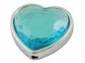 Kunststof hartkraal turquoise facet 28 x 29 mm