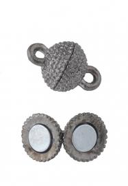 Metalen magneet sluiting 14x9mm antracietkleur