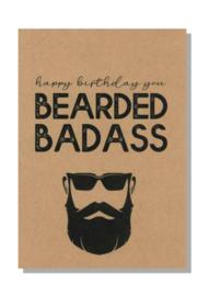 kaart  + envelop + postzegel 'HAPPY BIRTHDAY BEARDED BADASS'