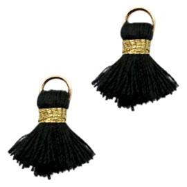 Kwastjes Ibiza style 1.5cm Gold-black