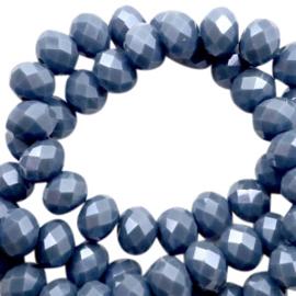 Facet kraal donut 6 x 4 mm Air force blue-pearl high shine coating