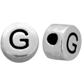 DQ metalen letterkralen # G Antiek zilver (nikkelvrij)