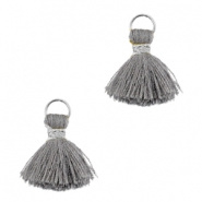 Mini kwastjes Ibiza style Zilver-Licht grijs ca. 1 cm
