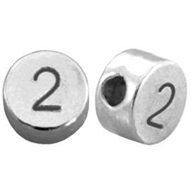 DQ metalen cijferkralen # 2 Antiek zilver (nikkelvrij)