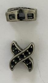 Metalen schuifkraal 15 mm met 9 gaatjes voor puntstrass steentjes