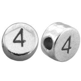 DQ metalen cijferkralen # 4 Antiek zilver (nikkelvrij)