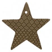 DQ Leer hanger ster Etherea Brown 5 x 5 cm