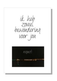 kaart  + envelop + postzegel 'IK HEB ZOVEEL BEWONDERING VOOR JOU'