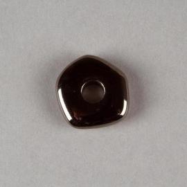 Verzilverde kraal antraciet wiel 20 x 4 mm