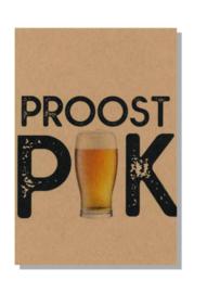 kaart  + envelop + postzegel 'PROOST PIK'