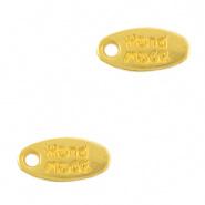 """Bedels DQ metaal tag """"handmade"""" Goud (nikkelvrij)"""