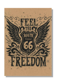 kaart  + envelop + postzegel 'ROUTE 66'