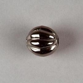 Verzilverde kraal antraciet rond ribbel 17 mm