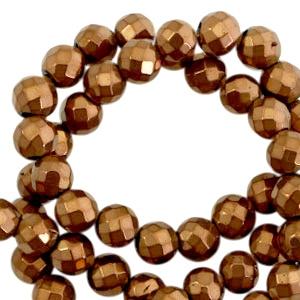 Hematite kralen rond 6mm facet geslepen Rosegold
