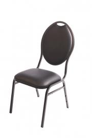 Stackchair Pearl zwart (kunstleder)
