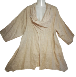 SOPHIA CURVY Aparte linnen blouse/jas 48-50