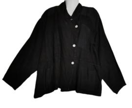 SARAH SANTOS Zwart linnen jasje 50-52