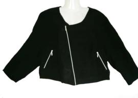 JORLI Mooi zwart blouse/jasje met rits 52-54