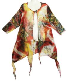 CHIARA Prachtige kleurige wijde blouse 46-50