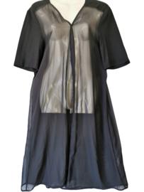 NO SECRET Aparte zwarte voile lange blouse 48
