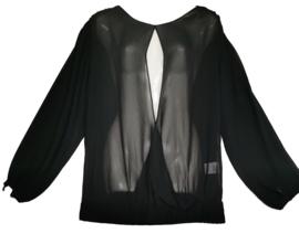 MAR&NUA Aparte zwarte voile blouse 44-46