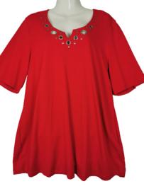 CHALOU Trendy stretch shirt met ringen 48