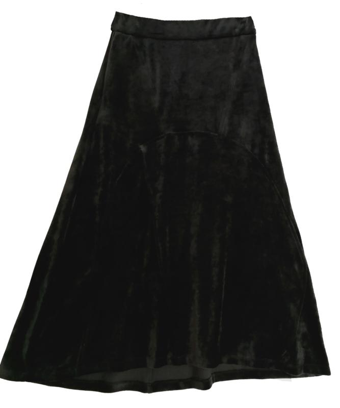 ALEMBIKA Prachtige zwarte  stretch fluwelen rok 42
