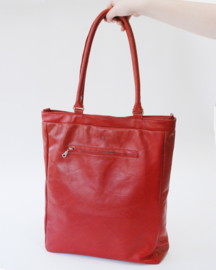 Recycled red leather shopper