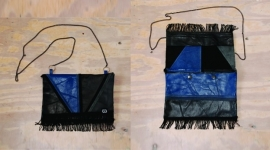 zwart/blauw  leren etuitasje