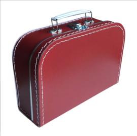 Kartonnen koffertje bordeaux rood