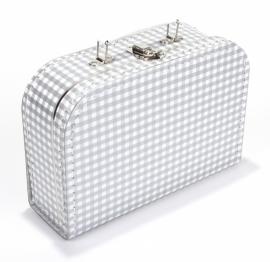 Kartonnen koffertje wit / zilver geruit