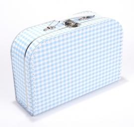 Kartonnen koffertje wit / blauw geruit