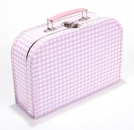 Kartonnen koffertje wit / roze geruit