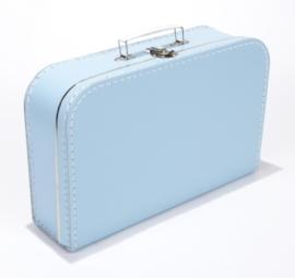 Kartonnen koffertje baby blauw - 35 cm