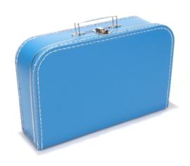 Kartonnen koffertje blauw - 35 cm