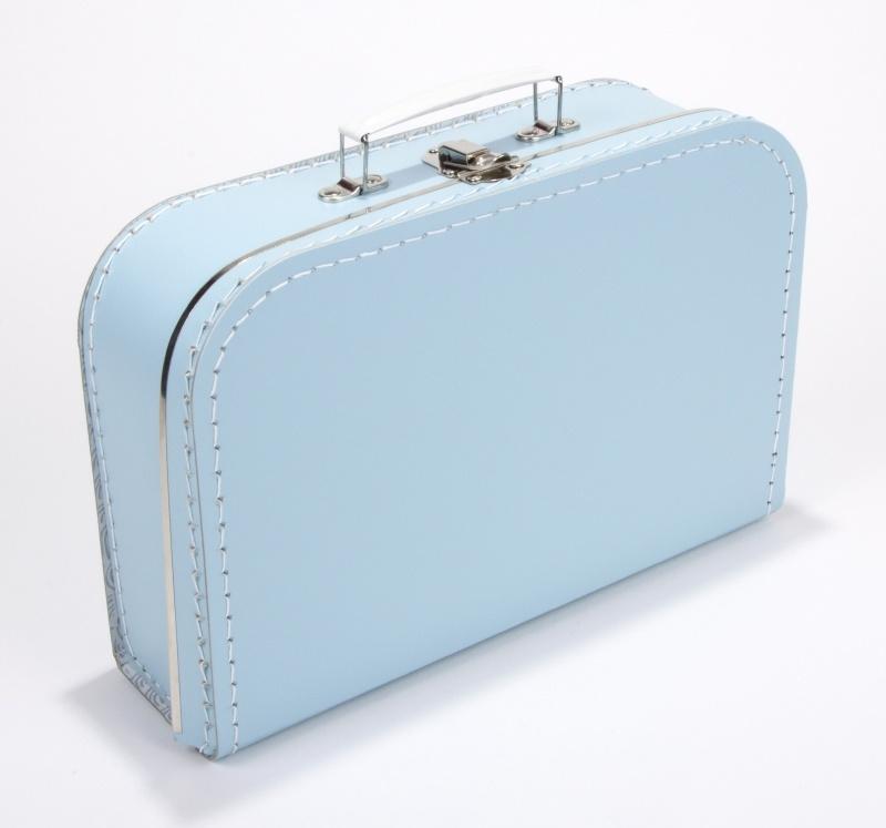 Kartonnen koffertje baby blauw- 30 cm