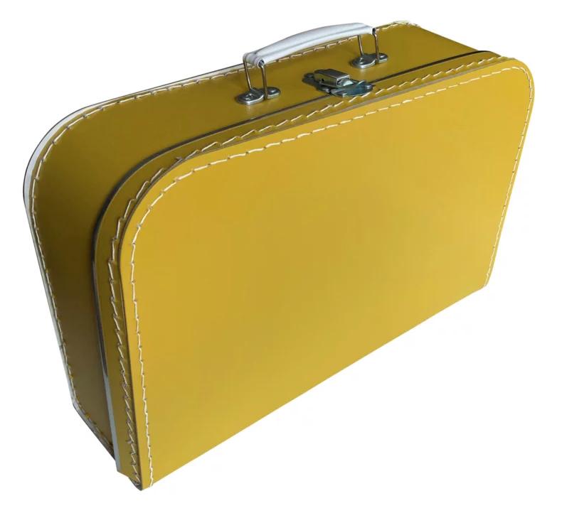 Kartonnen koffertje oker geel - 35 cm