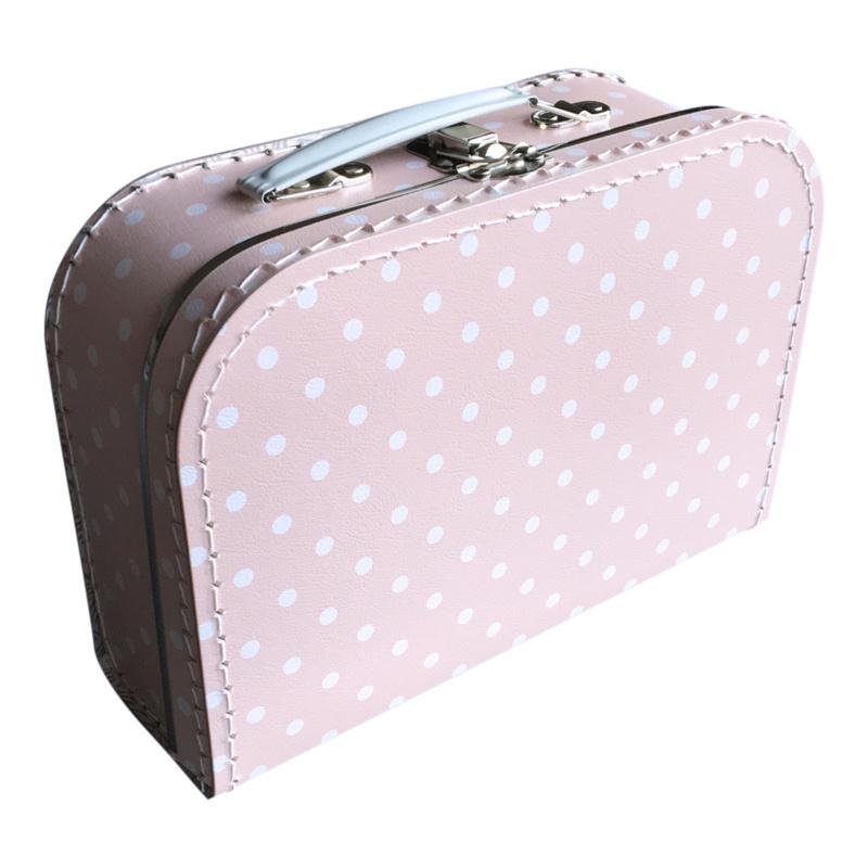 Kartonnen koffertje roze met witte stippen
