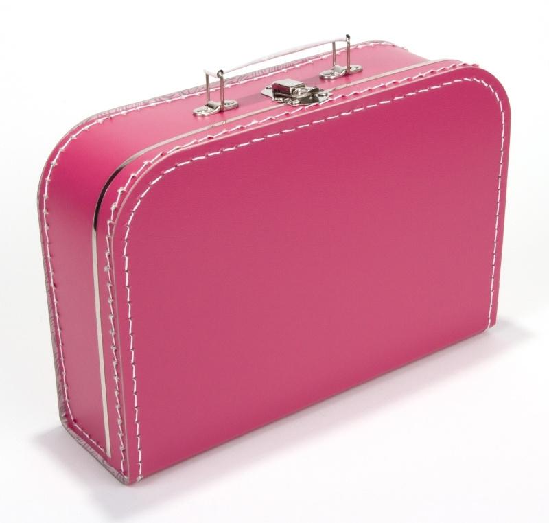 Kartonnen koffertje fuchsia - 30 cm