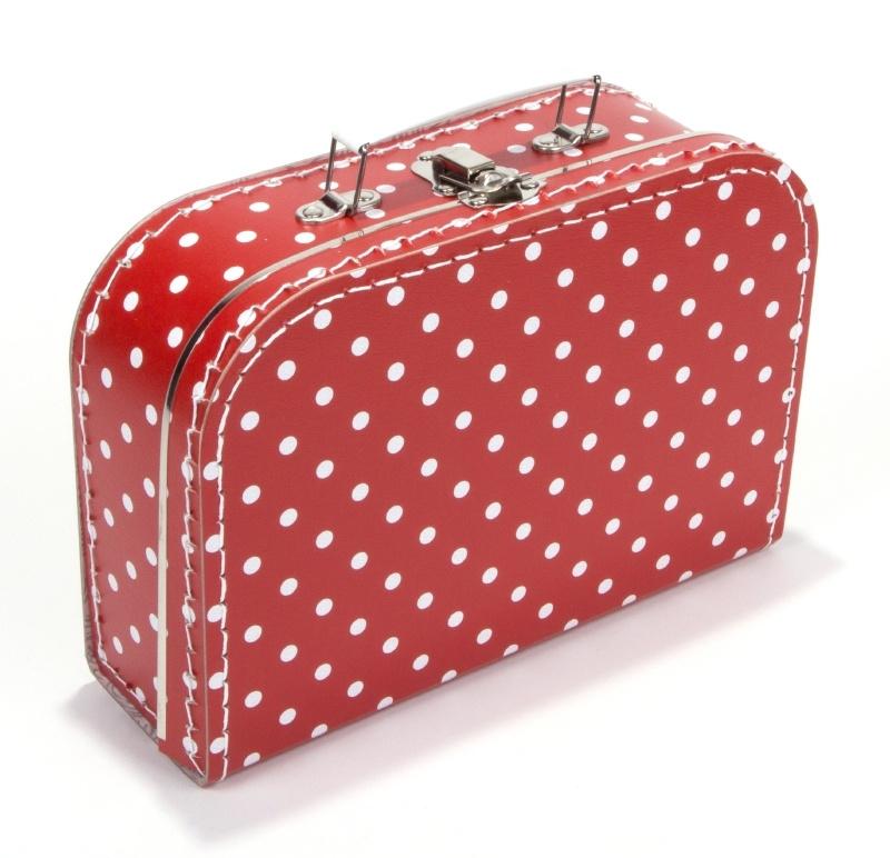 kartonnen koffertje rood met witte stippen