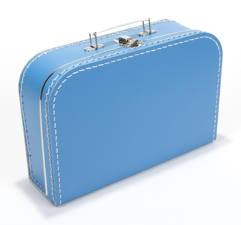 Kartonnen koffertje blauw- 30 cm