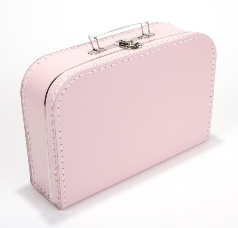 Kartonnen koffertje baby roze - 30 cm