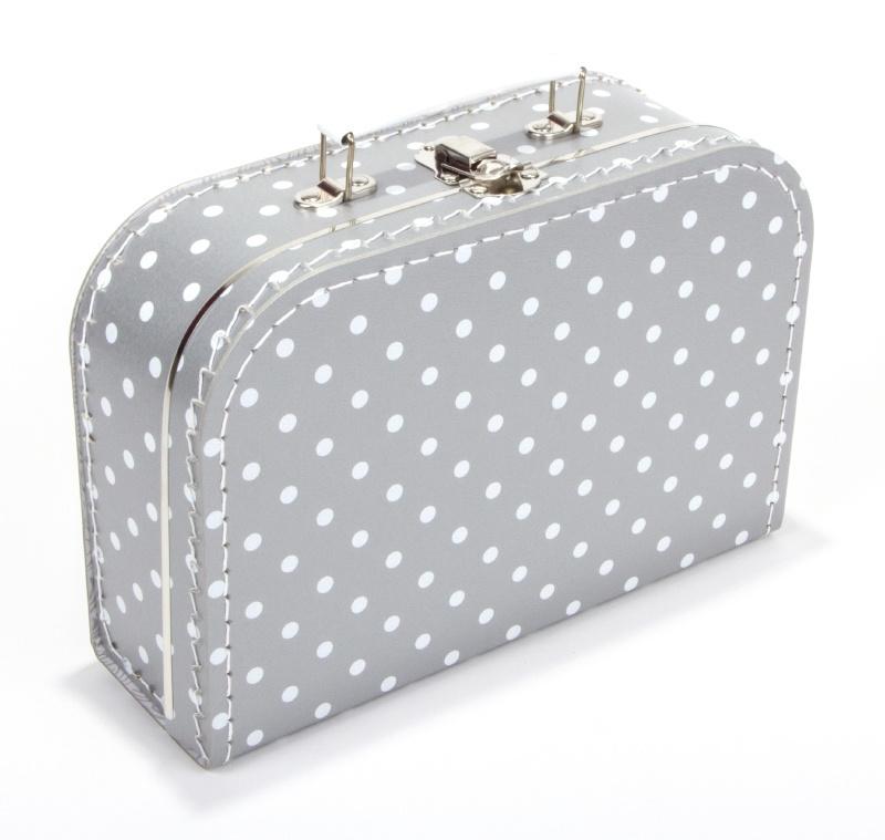 Kartonnen koffertje zilver met witte stippen