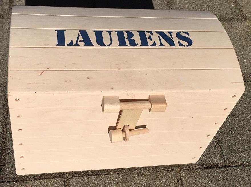 Houten schatkist met naam - Laurens