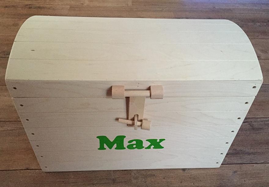 Houten schatkist met naam - Max