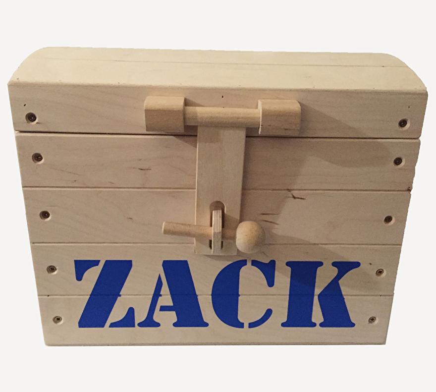 Houten schatkist met naam - Zack