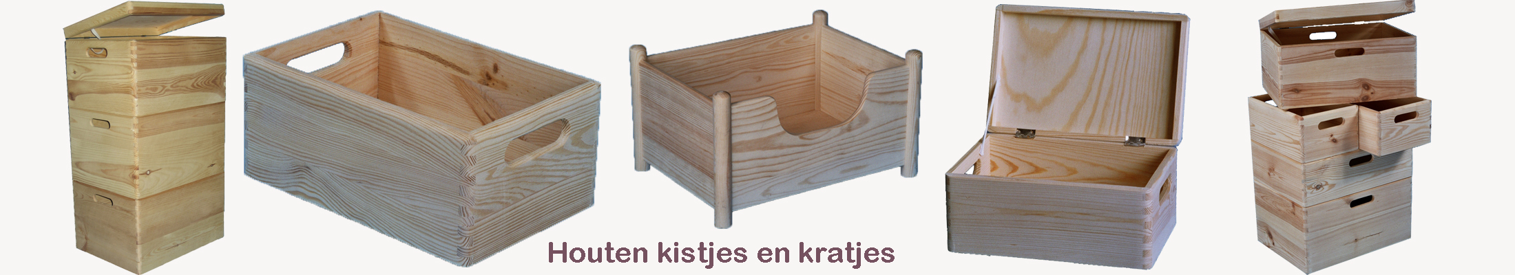 Houten kistjes en houten kratjes