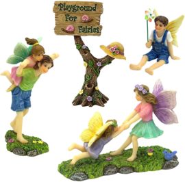 A Joyful Fairy Playground Set with Girl Fairies and Boy Fairies and a Cute Fairy Garden Sign – Fairy Garden Supplies 4 Pieces