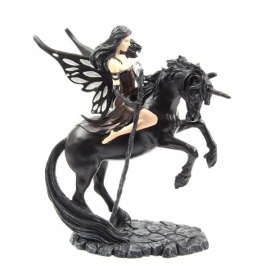 Dark Fantasy Fairy with Crystal Staff Riding Black Unicorn