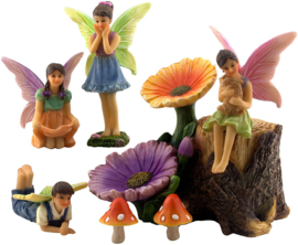Fairy Garden Accessories Kit – Miniature Fairy Figurines & Flower Stump Supplies – 7 Pieces